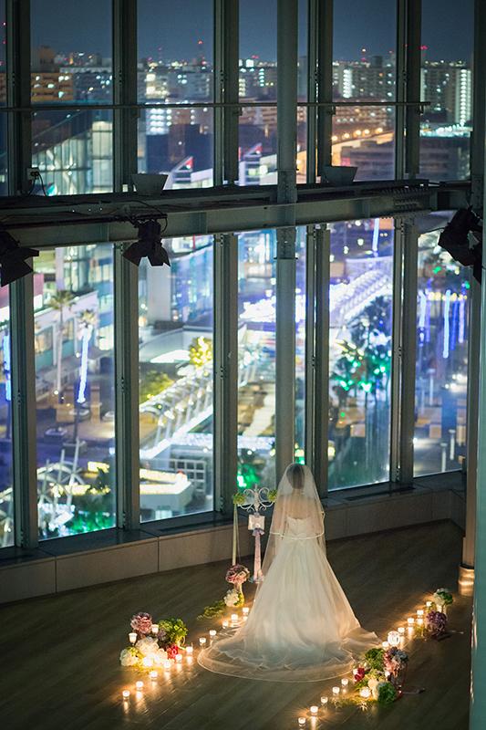 大阪南港の夕陽 夜景をバックにブライダル前撮り撮影 ¥45,000~